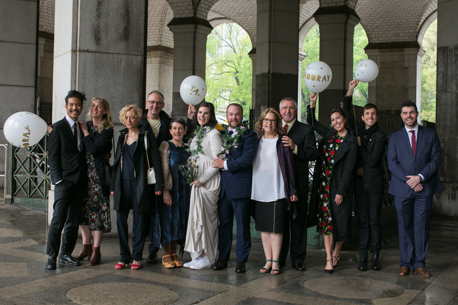 Family and friends celebrate NYC elopement