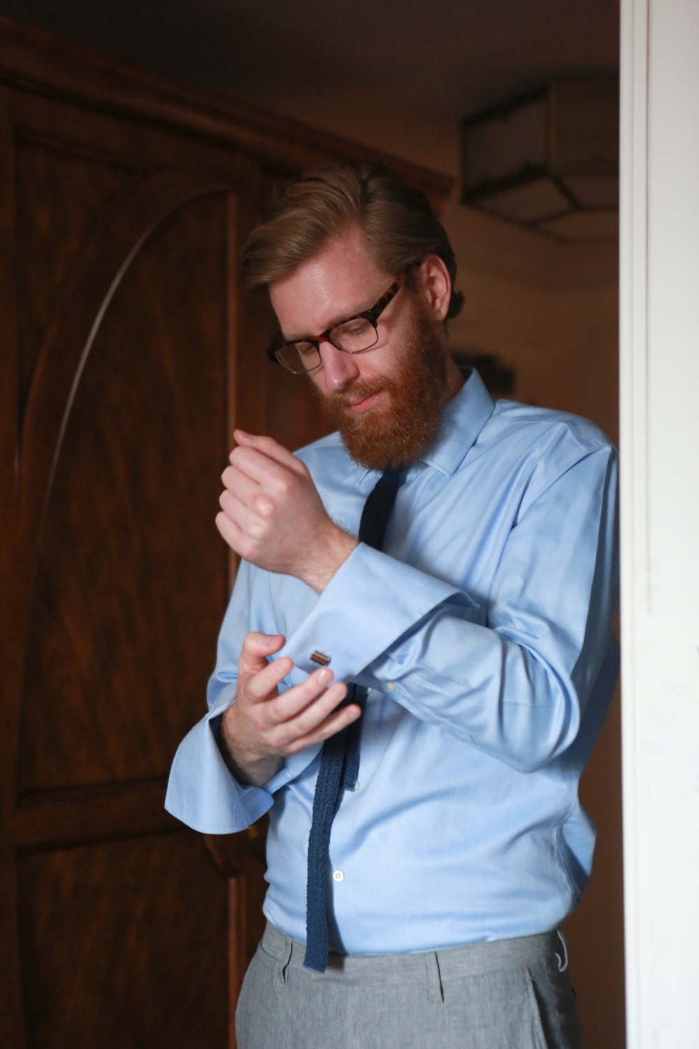 Groom getting ready for elopement in New York City