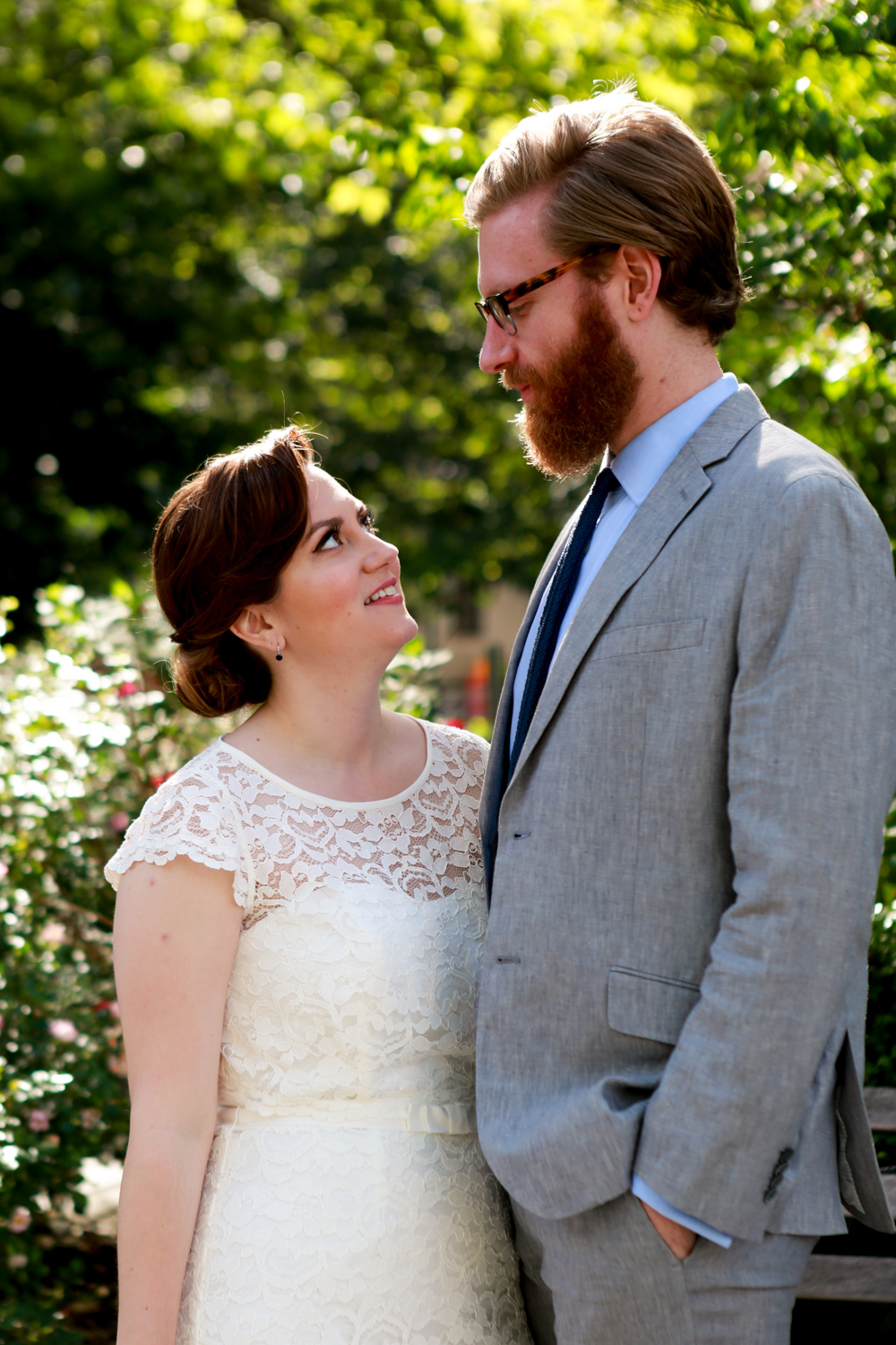 Bride and groom together before luxury elopement