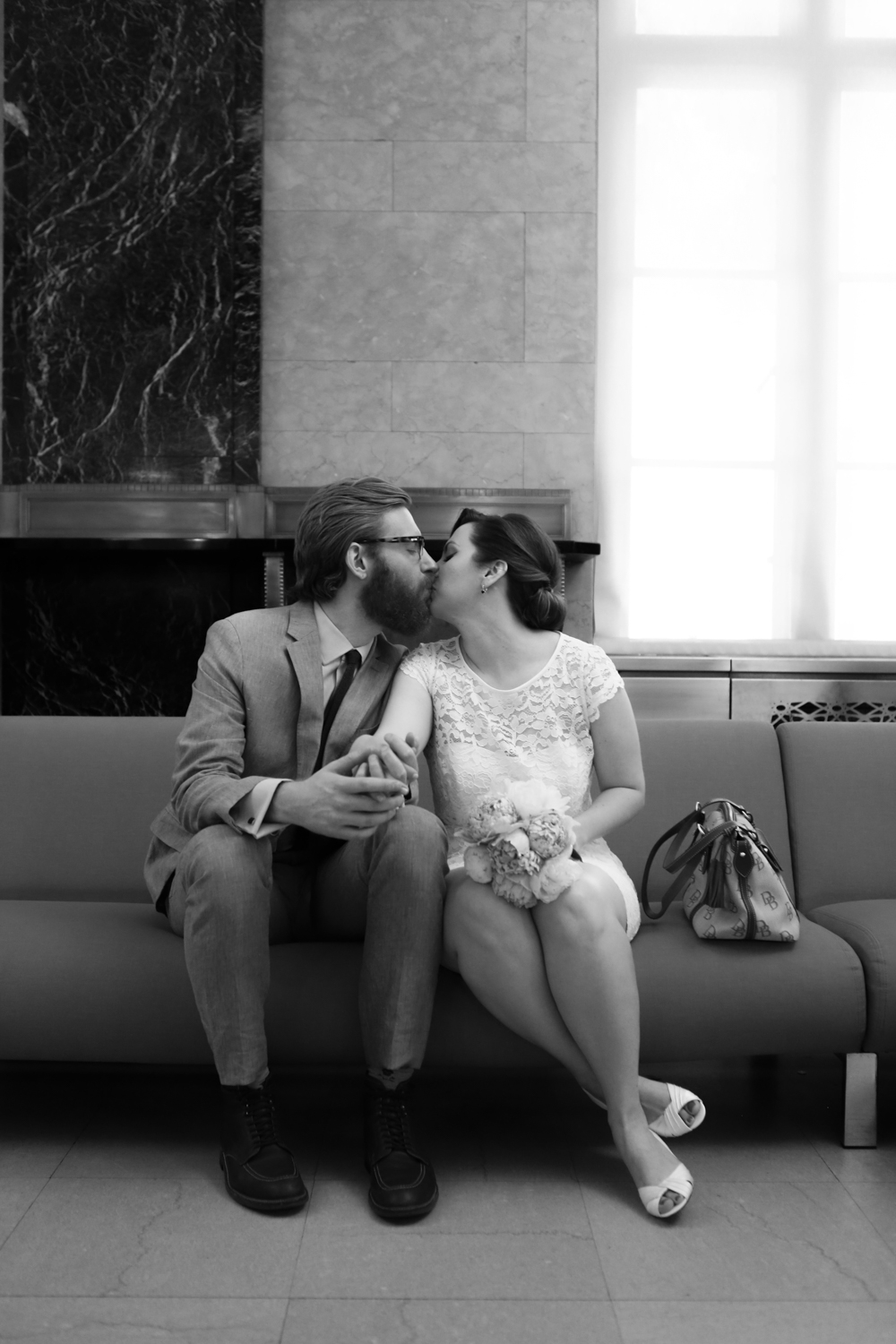 Black and white photograph of New York City bride and groom
