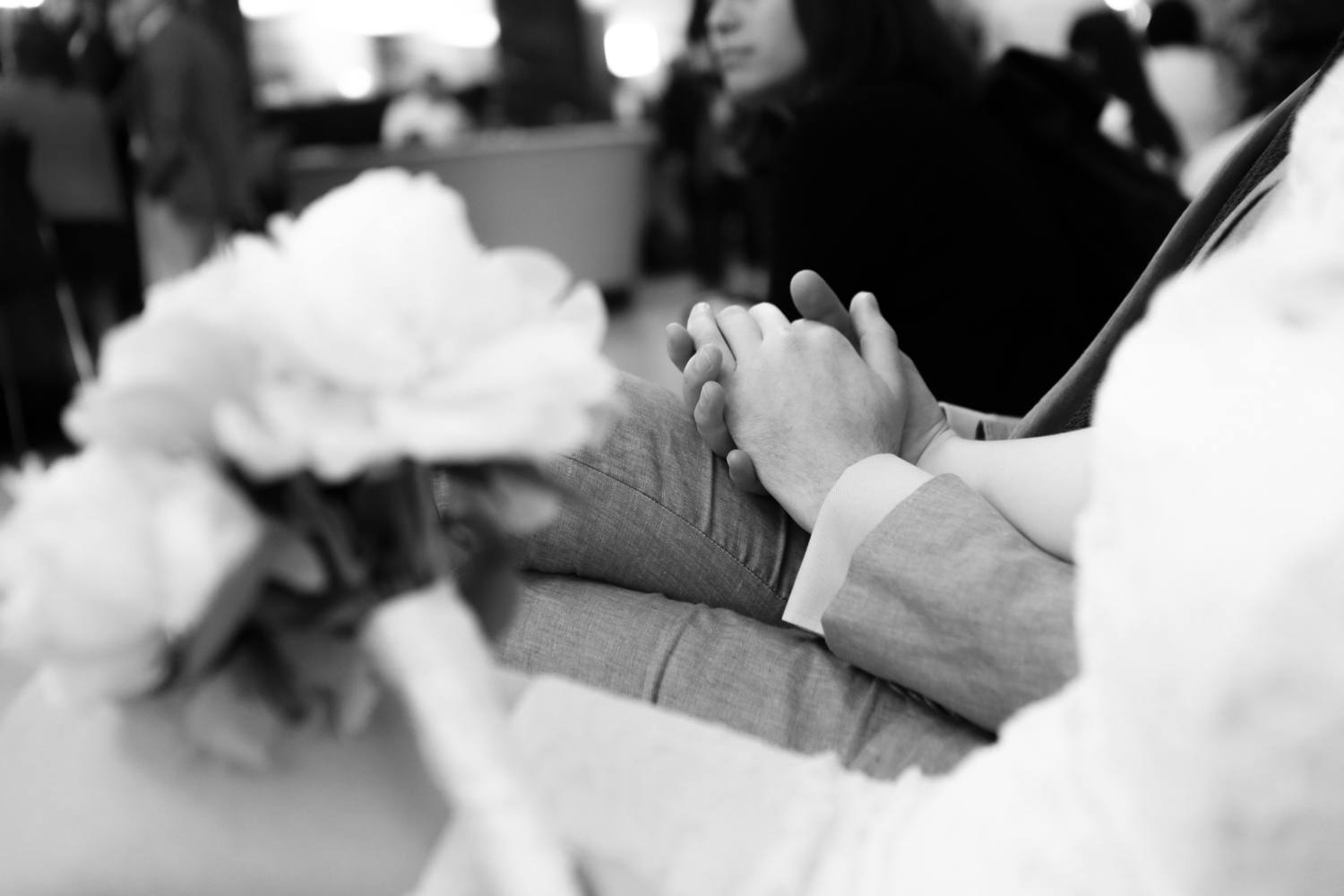 Holding hands on elopement day