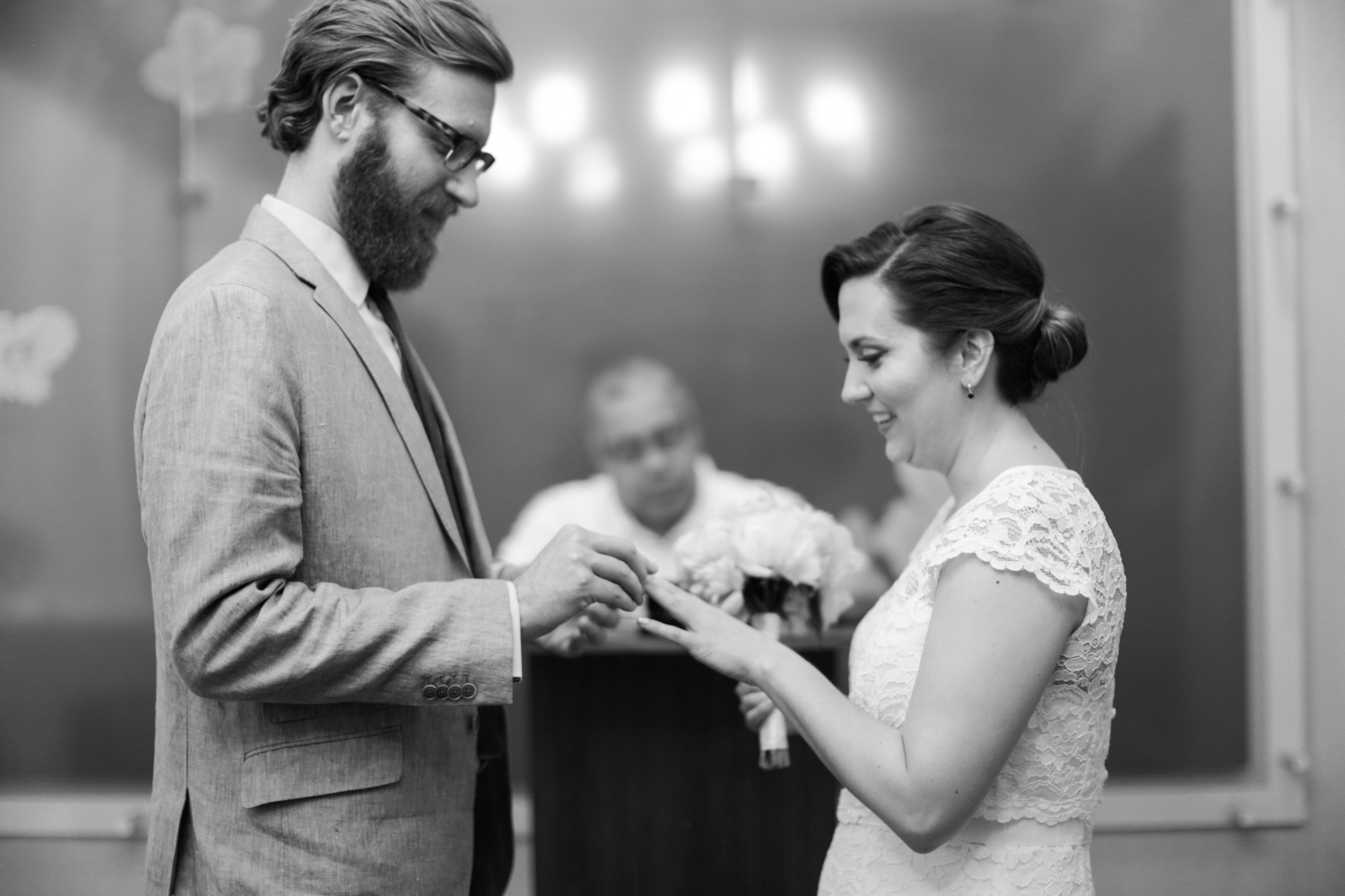 exchanging of rings during NYC elopement