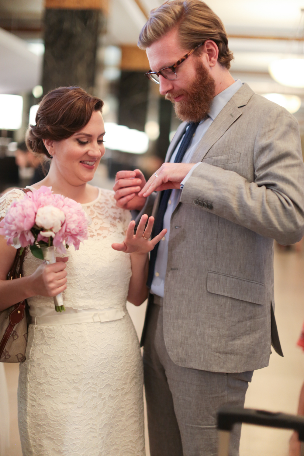 Bride and groom celebrate after elopement