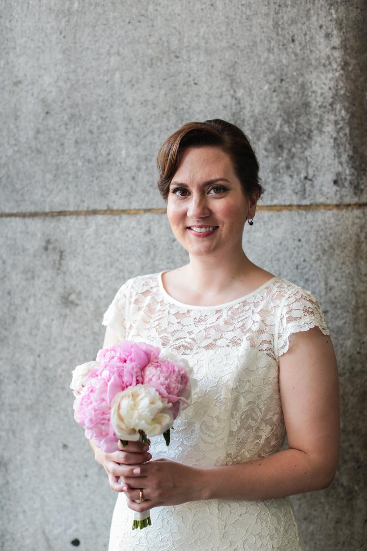 Solo portrait of New York City bride
