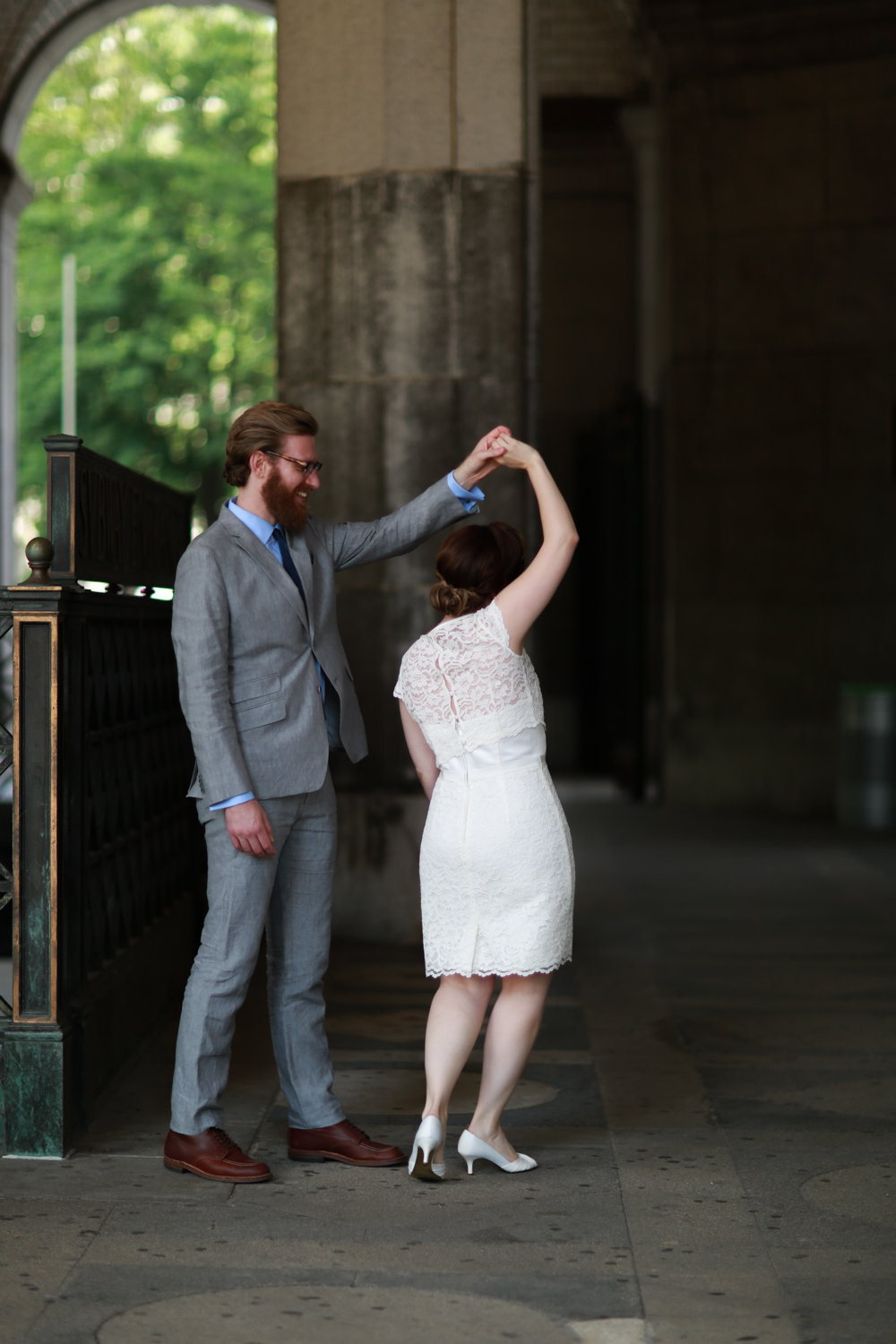 NYC Bride and groom dancing together