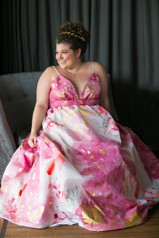Solo portrait of bride in wedding dress