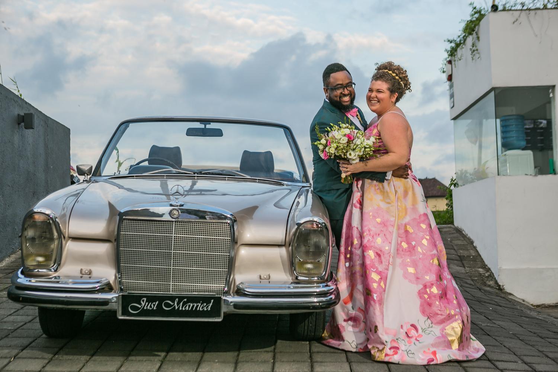 Bride and groom after destination wedding ceremony