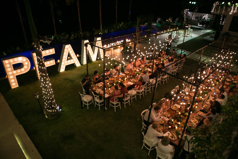 Overhead photograph of Bali wedding reception