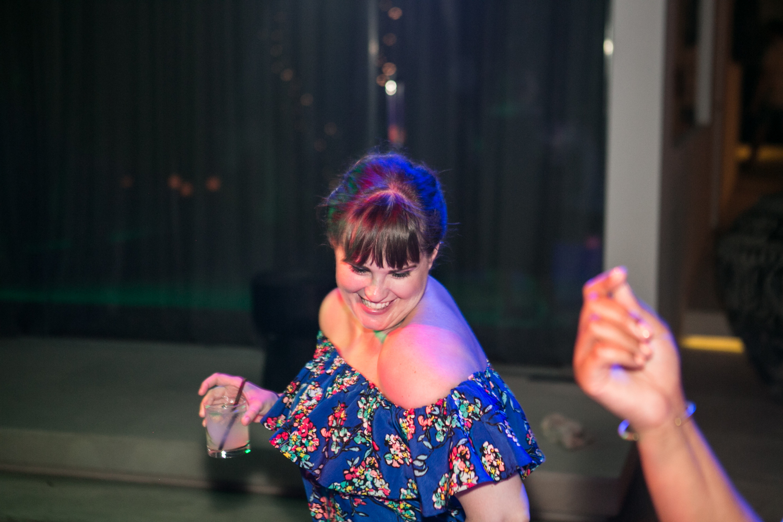 Wedding guests enjoy dancing at Bali wedding
