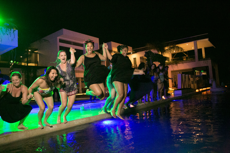 Bali pool party wedding reception