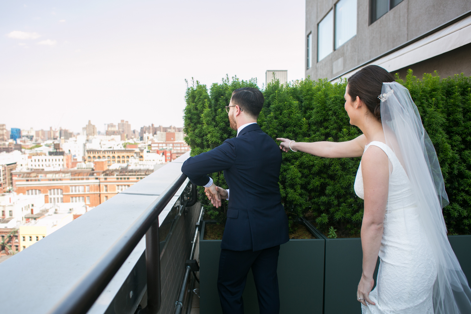 First look in New York City for bride and groom