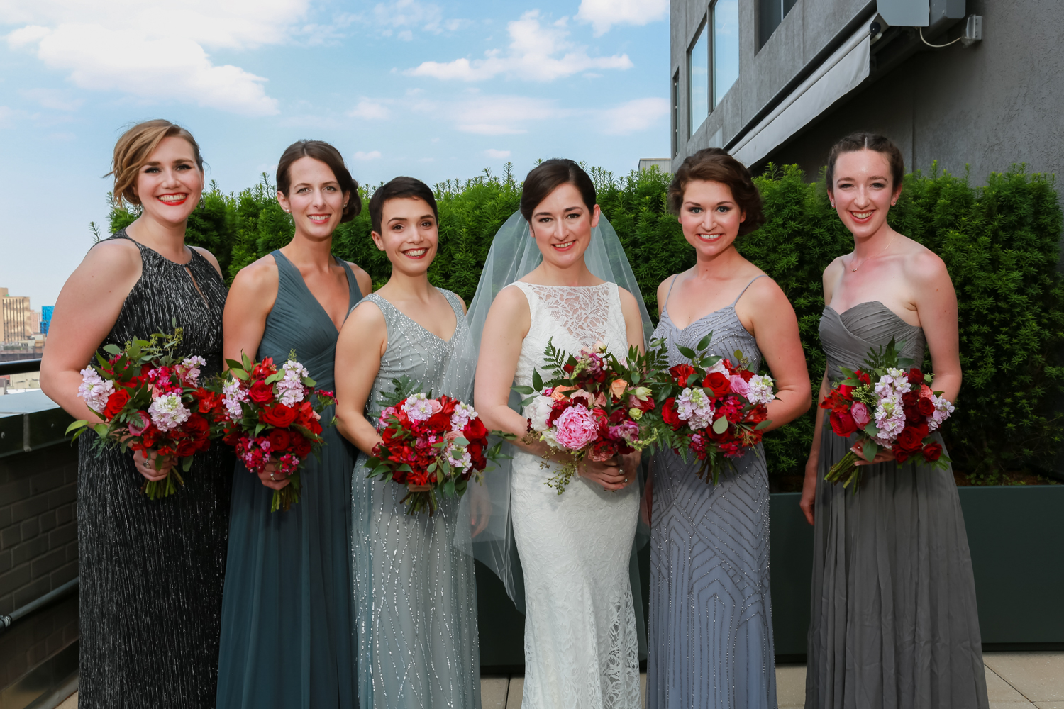 NYC Bride with her bridesmaids