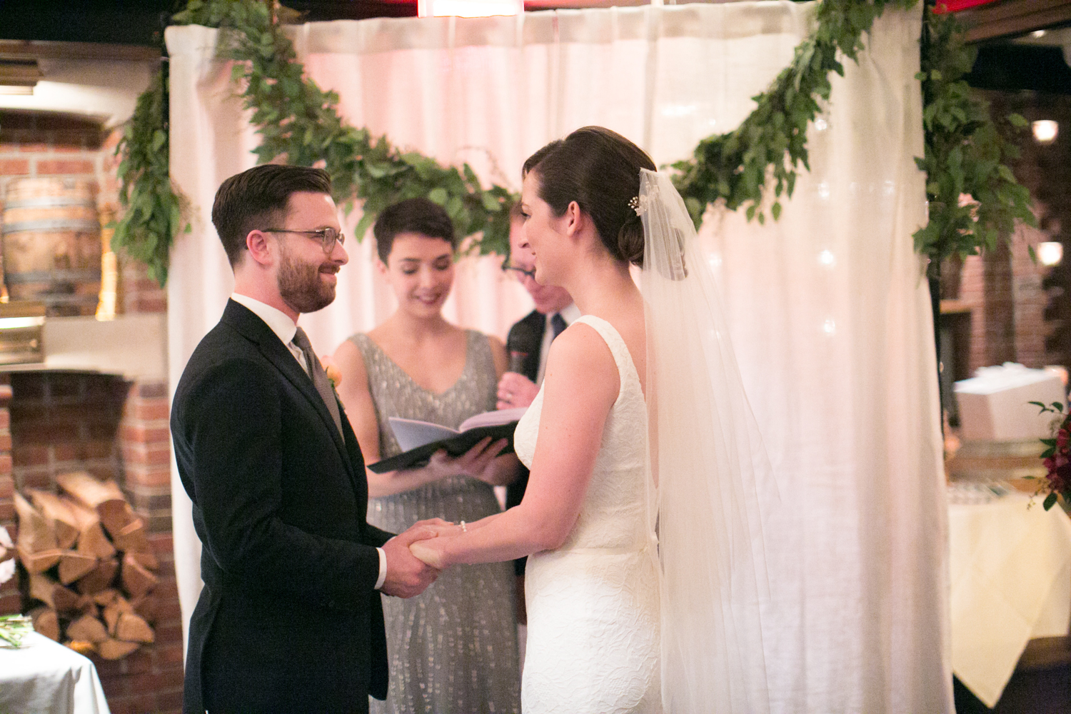 NYC Bride and groom exchange wedding vows