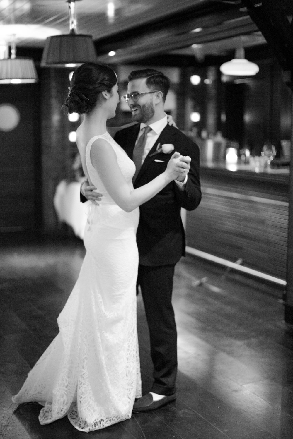 Black and white photograph of first dance in NYC