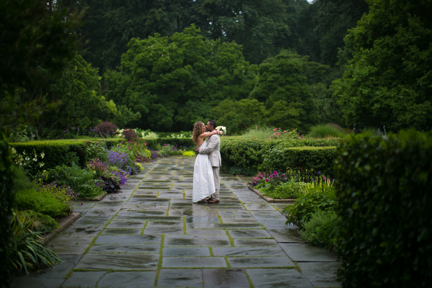 NYC bride and groom kiss during elopement