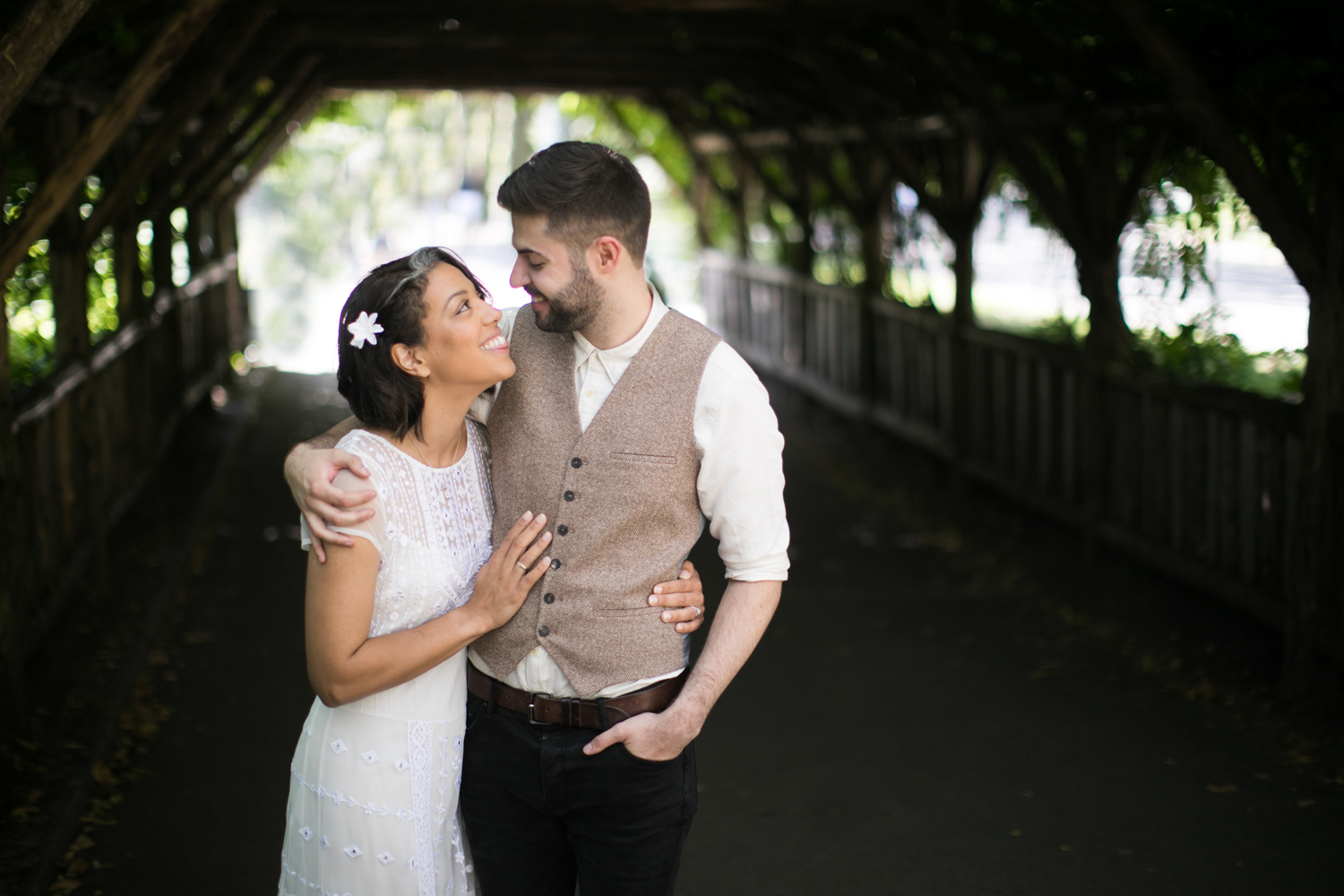 Portrait of newlyweds together in New York City.
