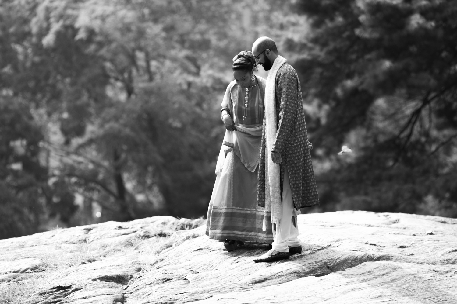 Black and white portrait of the bride and groom in Central Park.