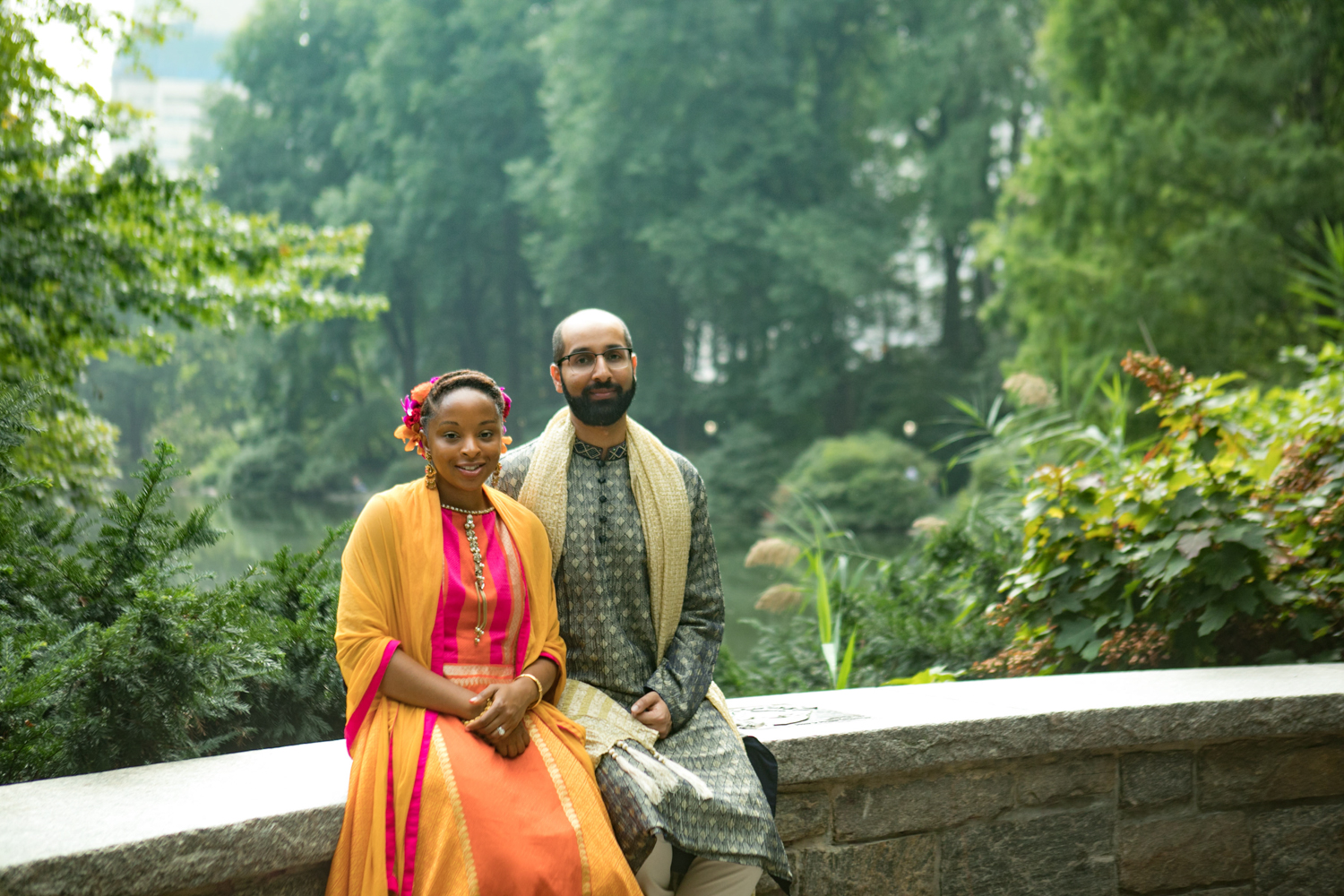 Portrait of the bride and groom in traditional Indian wedding attire.