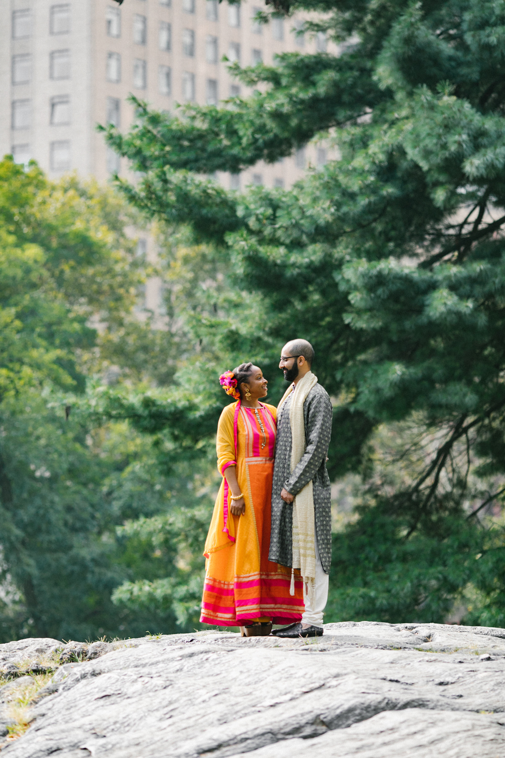 Portrait of the bride and groom together in Central Park.