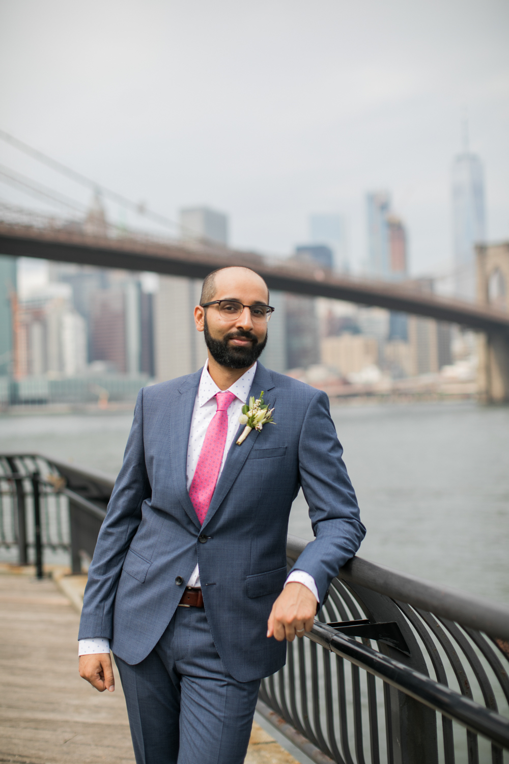 Portrait of a groom in Brooklyn Bridge Park.
