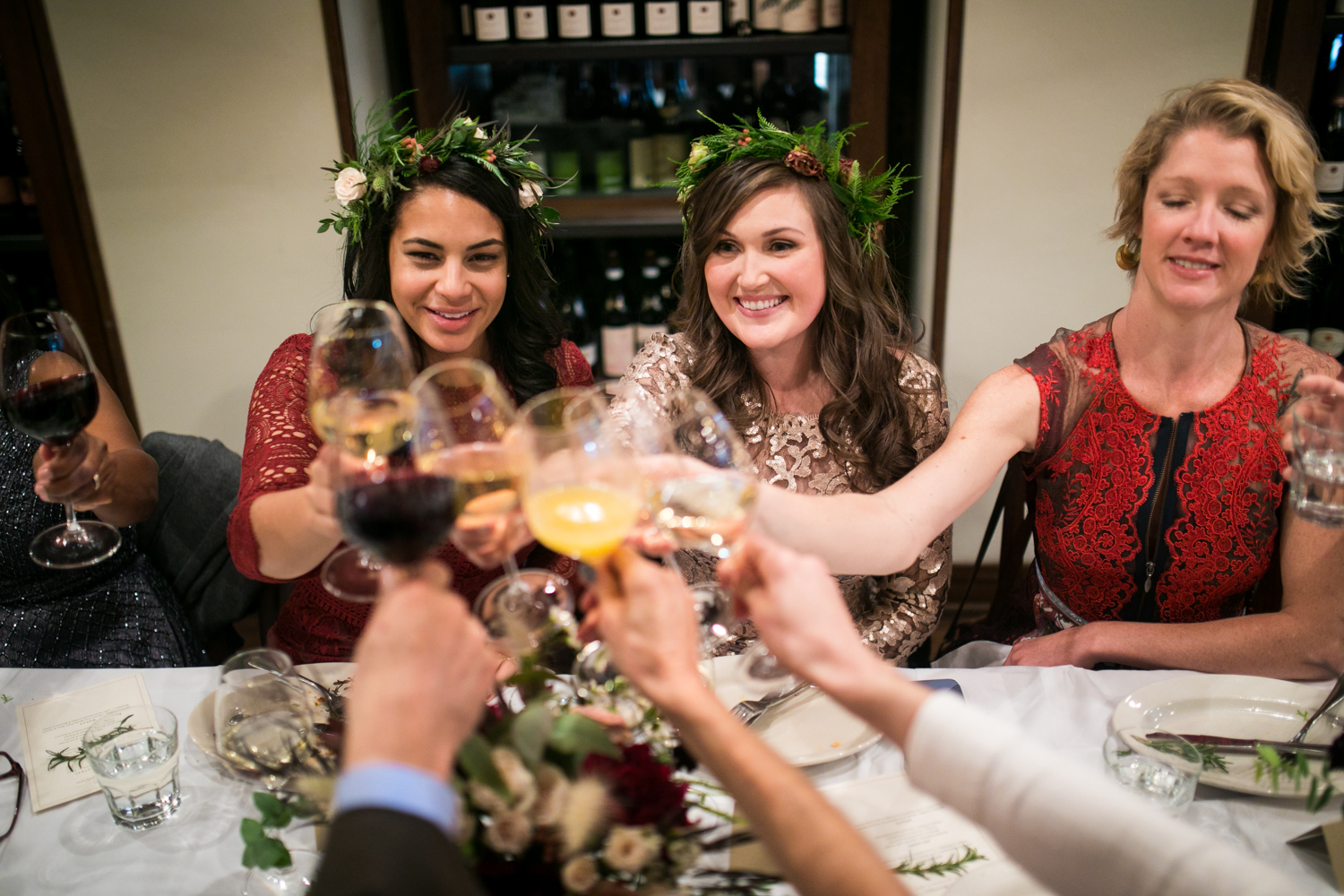 A wine toast at a  Maialino wedding reciption.