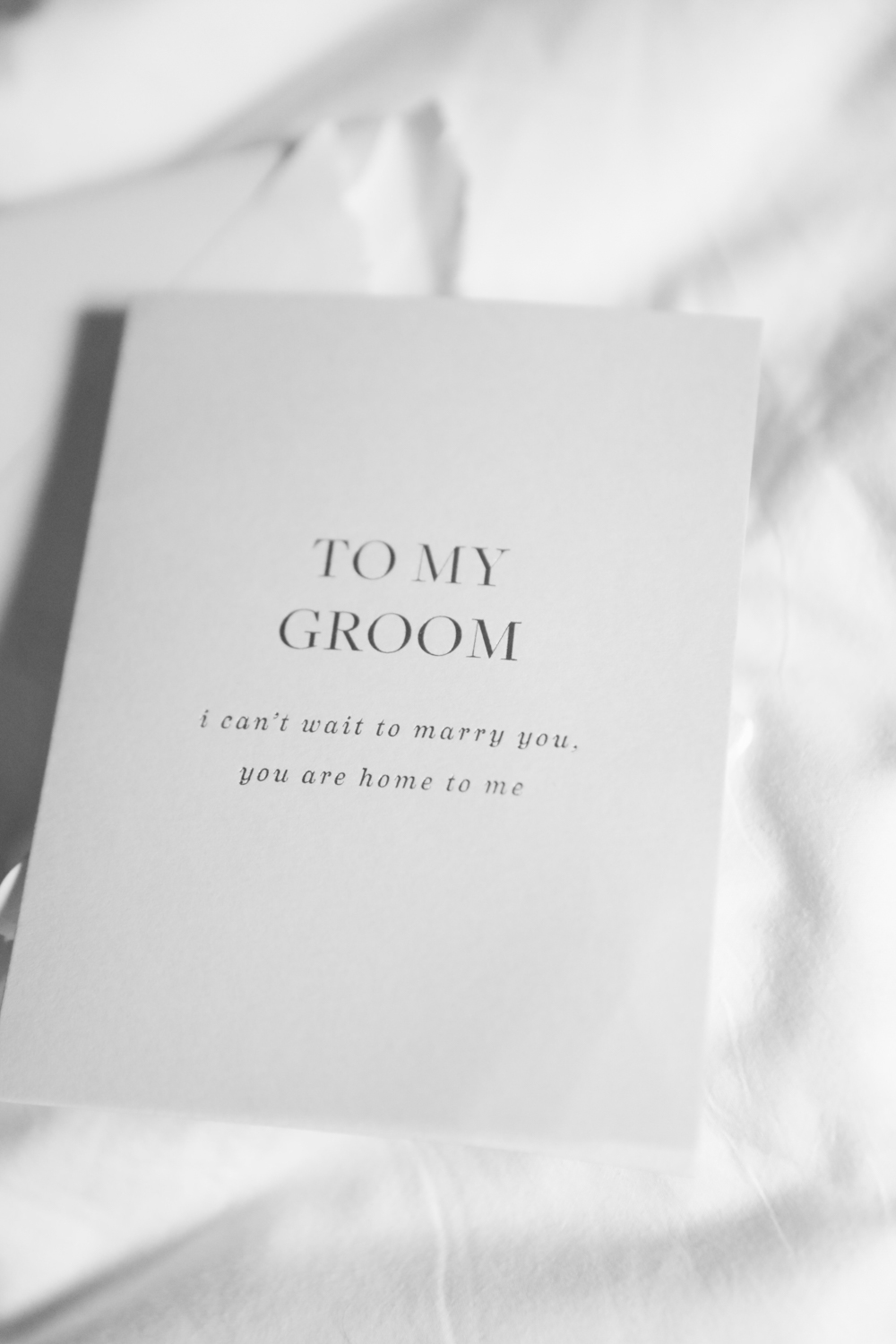 To My Groom: I can't wait to marry you, you are home to me. A card given to the groom on the morning of his wedding.