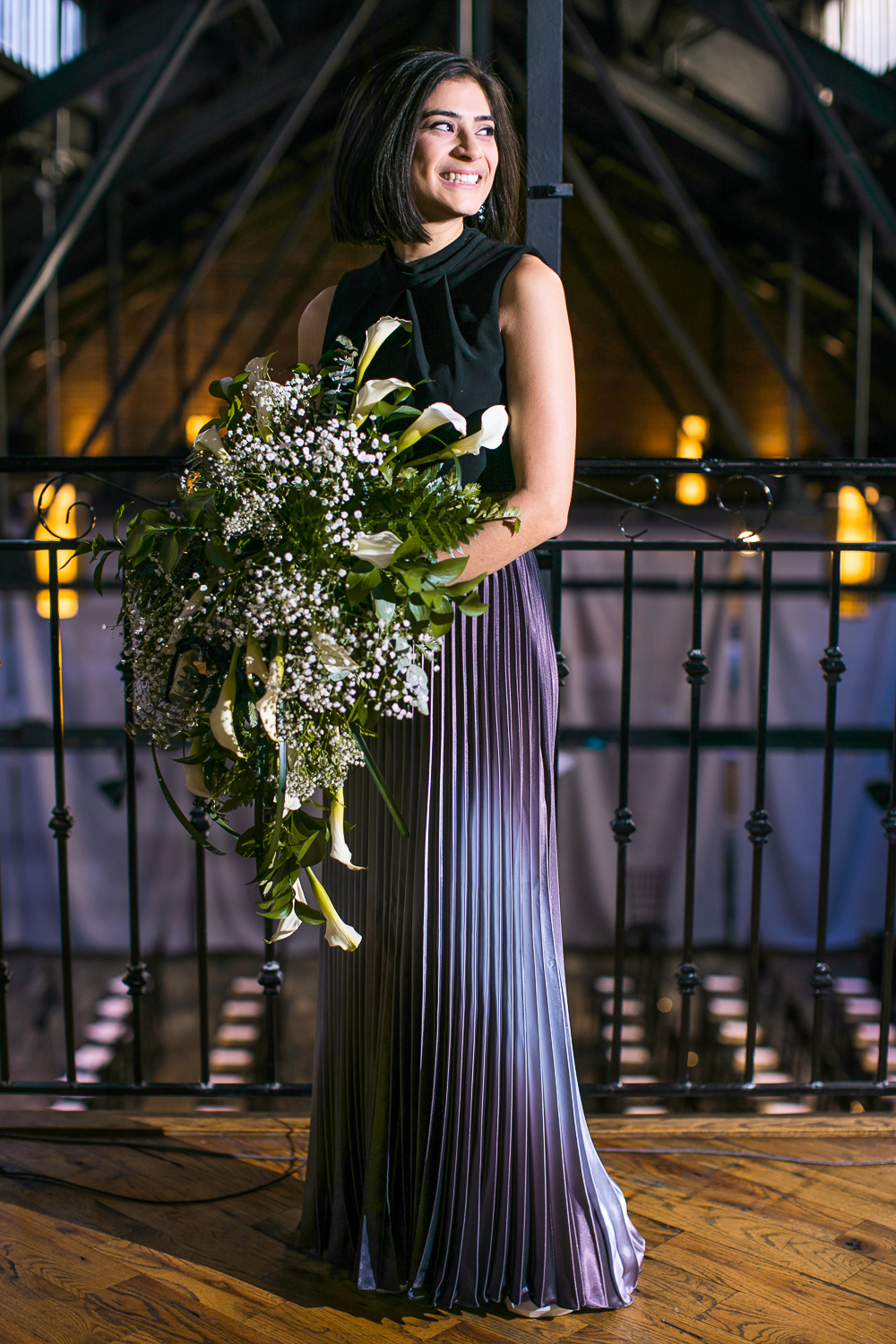 Bride in a purple dress with white flowers | 26 Bridge Wedding Photos | Lesbian Brooklyn Wedding | Kristin and Marisa's Wedding