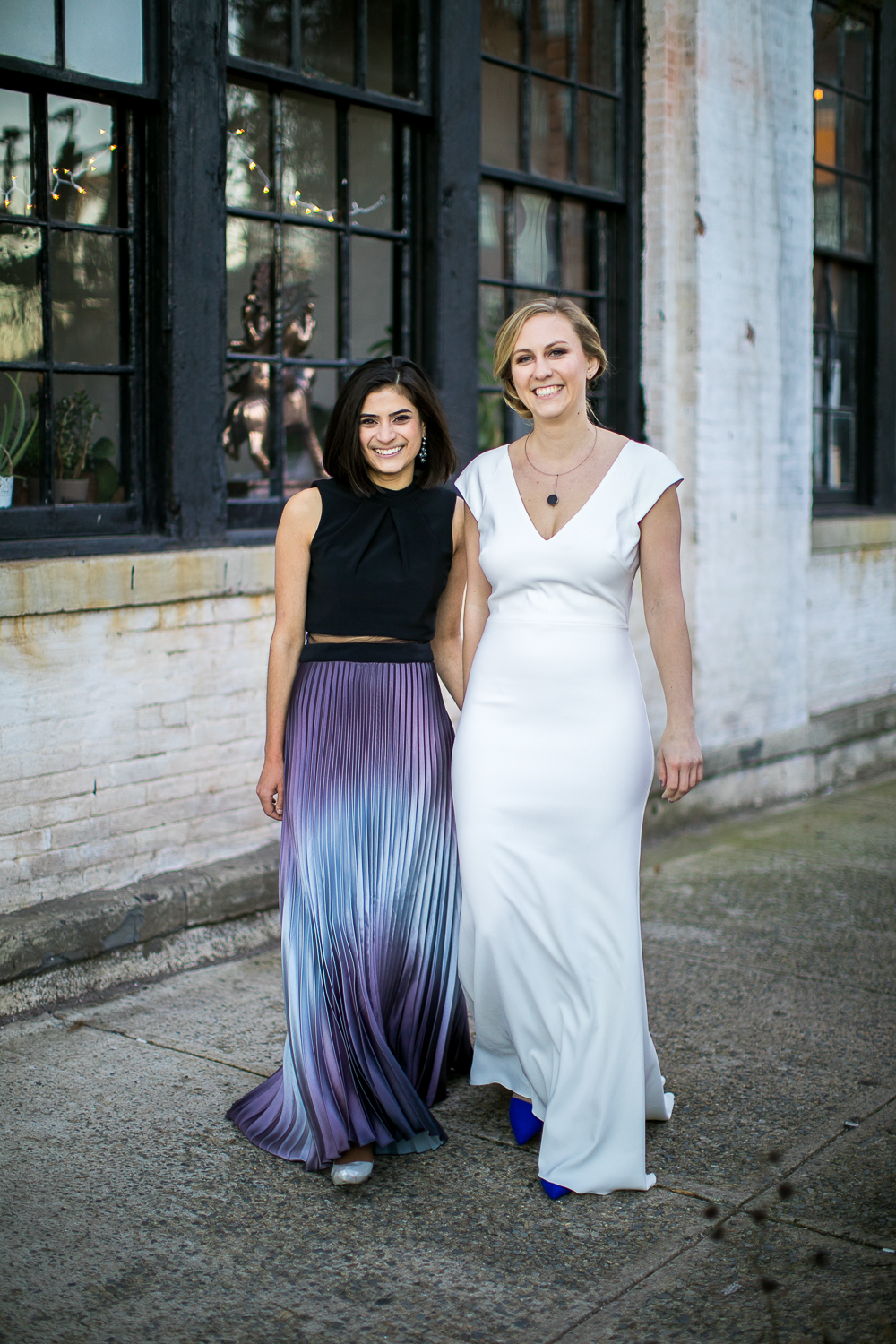 Portrait of brides on their wedding day | 26 Bridge Wedding Photos | Lesbian Brooklyn Wedding | Kristin and Marisa's Wedding