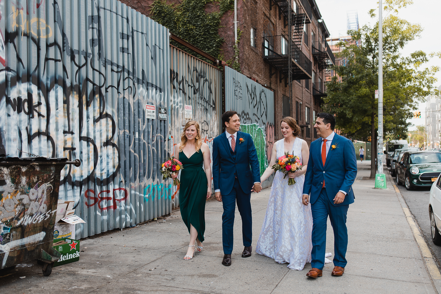 bride, groom, bridesmaid, and groomman on the streets of Brooklyn