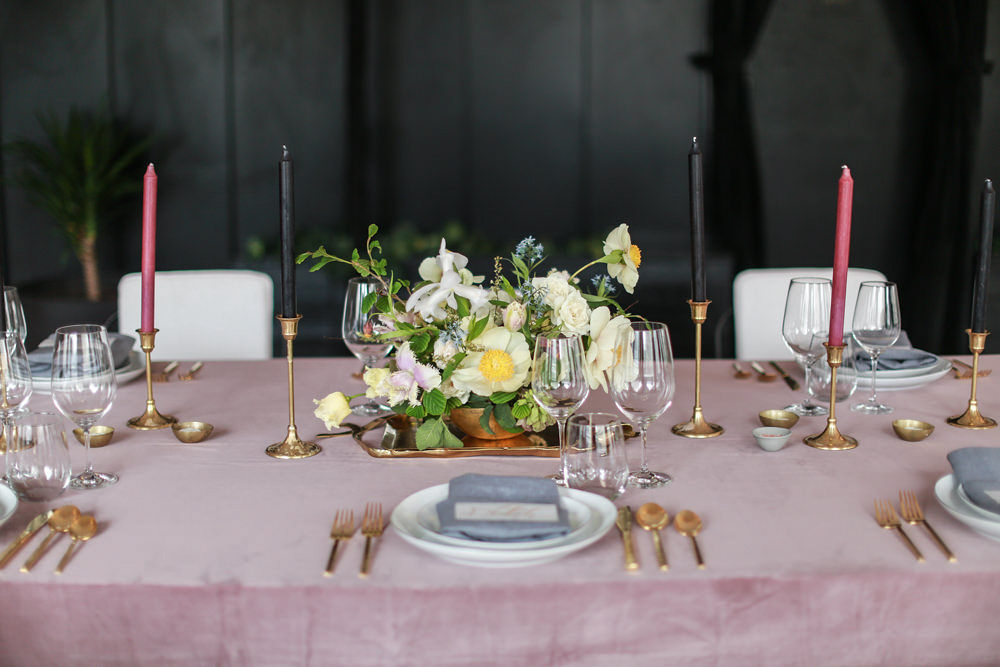 Black tie wedding - Wedding tablescape on shades of pink, gray, and gold with a FLWR Studio floral centerpiece. styled by Tall and Small Events - NoMad Hotel Wedding in New York City