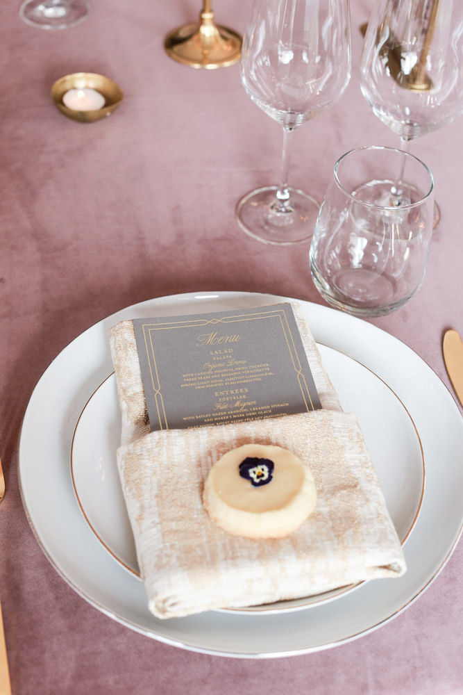 Wedding table decor with a blush napkin and gray and gold menu styled by Tall and Small Events - NoMad Hotel Wedding in New York City