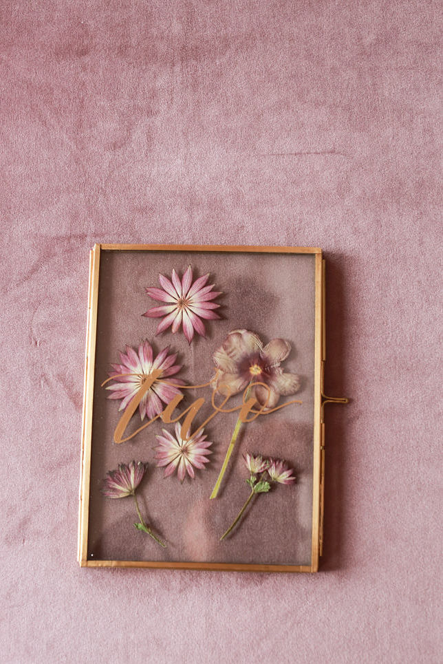Wedding table numbers with a gold frame and pressed flowers from Framed Florals - NoMad Hotel Wedding in New York City