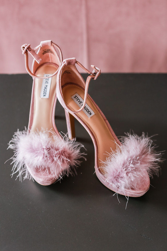Oink Steve Madden wedding shoes with pink feathers. - NoMad Hotel wedding in New York City