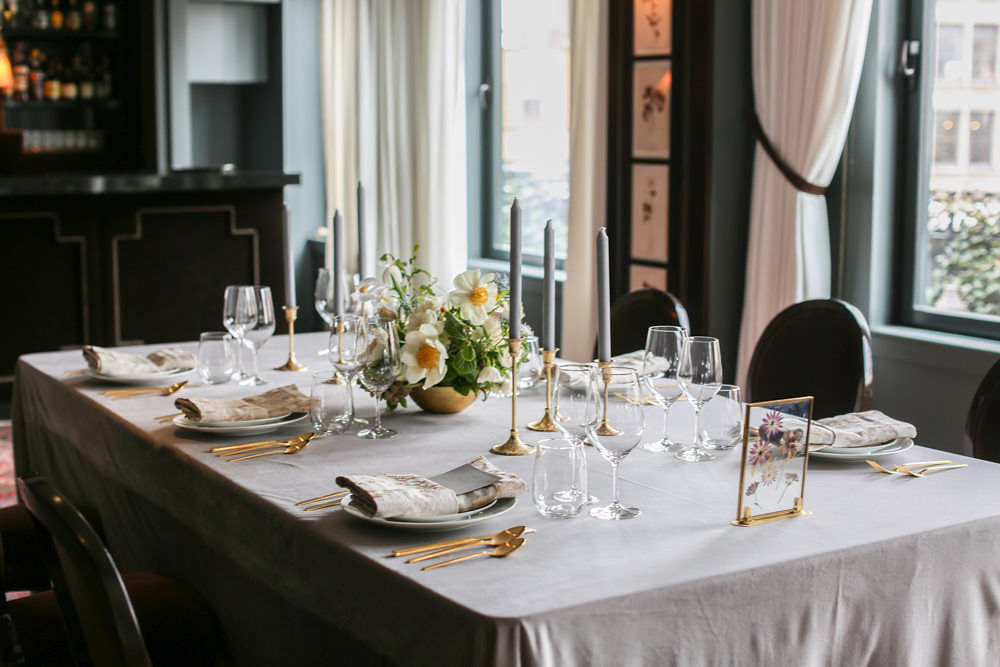 Manhattan wedding - Gray, blush, and gold wedding table settings styled by Tall and Small Events | NoMad Hotel Wedding in New York City