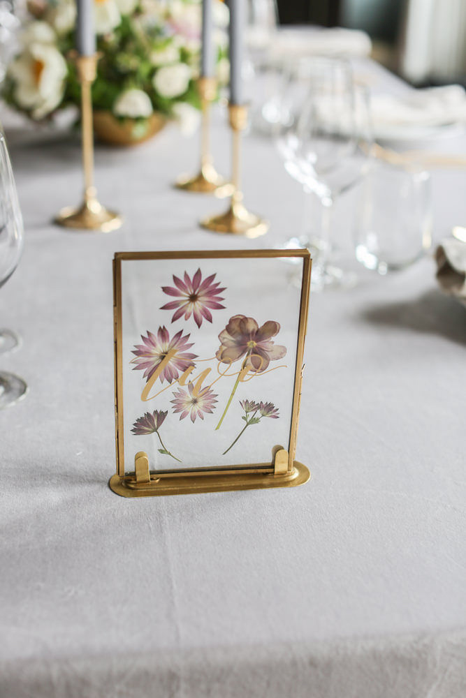 Pressed flower wedding table numbers | NoMad Hotel Wedding in New York City