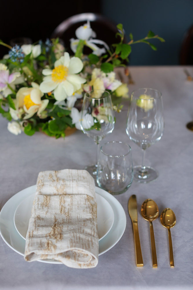 Gold and gray wedding table settings | NoMad Hotel Wedding in New York City