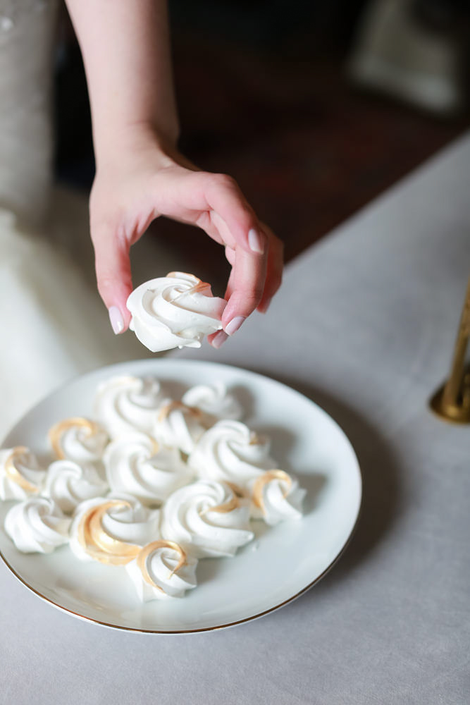 Plate of wedding meringues from The Meringue Bakeshop | NoMad Hotel Wedding in New York City