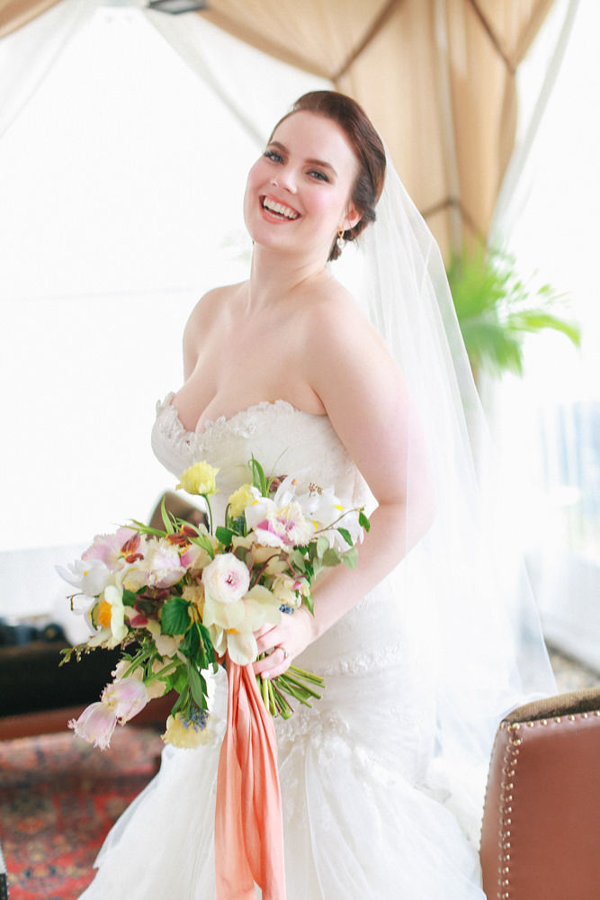 NoMad Hotel Wedding in New York City - portrait of the bride wearing an Enzoani wedding dress from The Bridal Garden and Jaclyn Jordan veil.