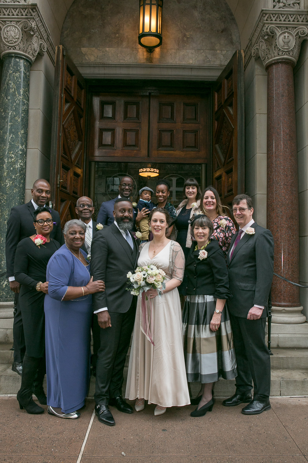 Family portrait at an intimate restaurant wedding in Manhattan. | Upper West Side Intimate Wedding | Kate & Sylvester's wedding in Manhattan.