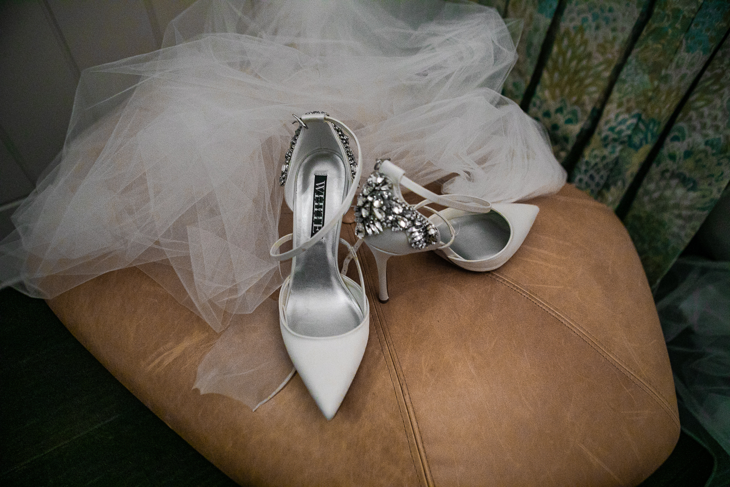White jeweled wedding shoes and white wedding veil at the Beekman Hotel in New York City. | Beekman Hotel Wedding Photos | Jason and Susanna's Glam NYC Elopement