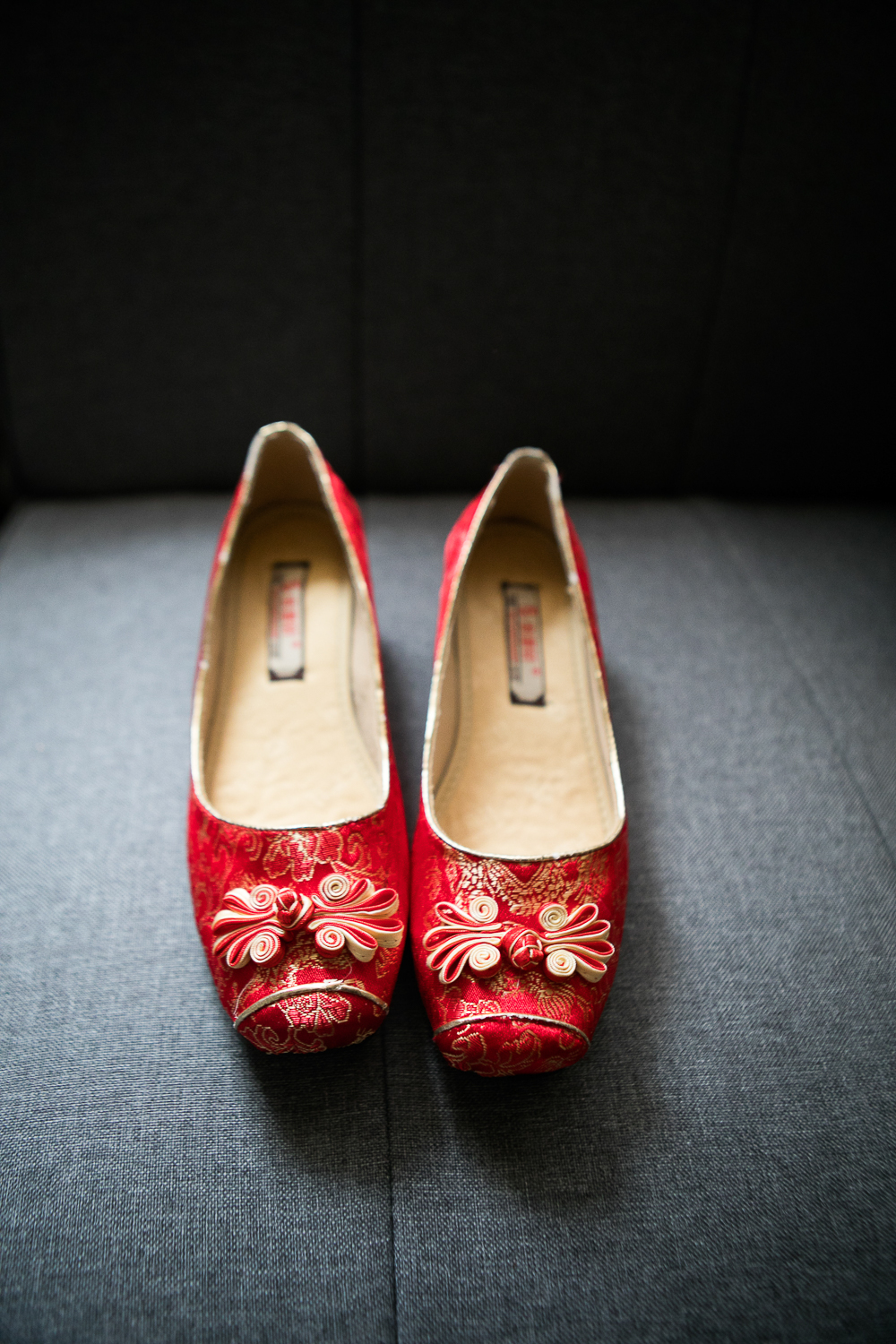 Traditional red Chinese wedding shoes