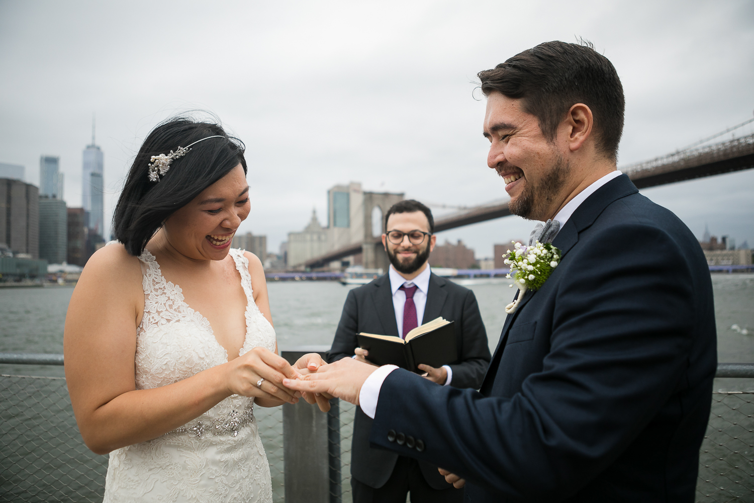 Ring exchange during a wedding ceremony in NYC.