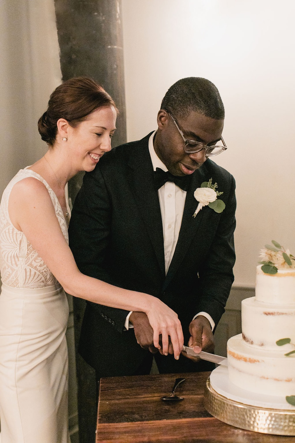 The couple opted for a silent cake cutting with just their families.