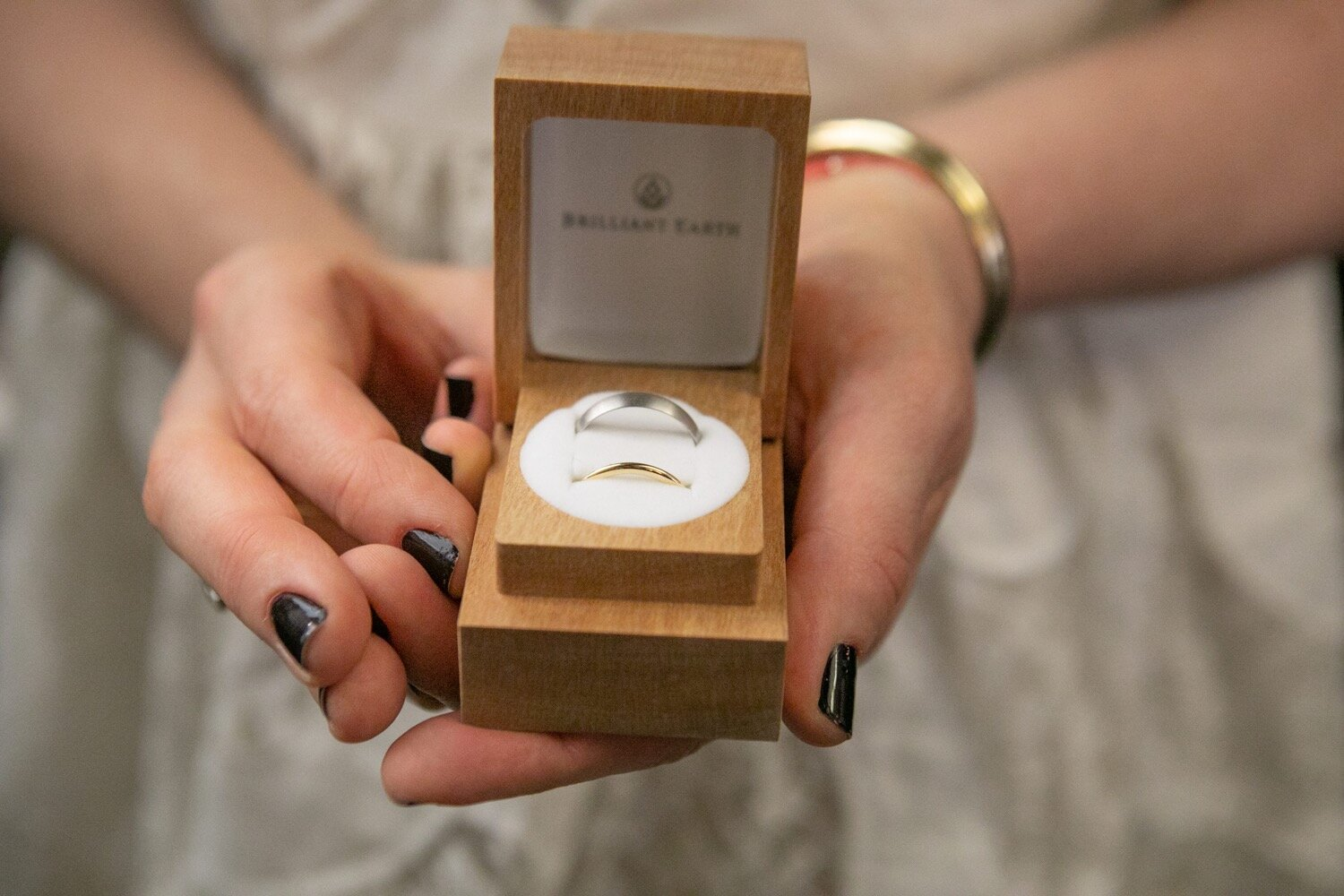 Bride and groom wedding bands from Brilliant Earth.