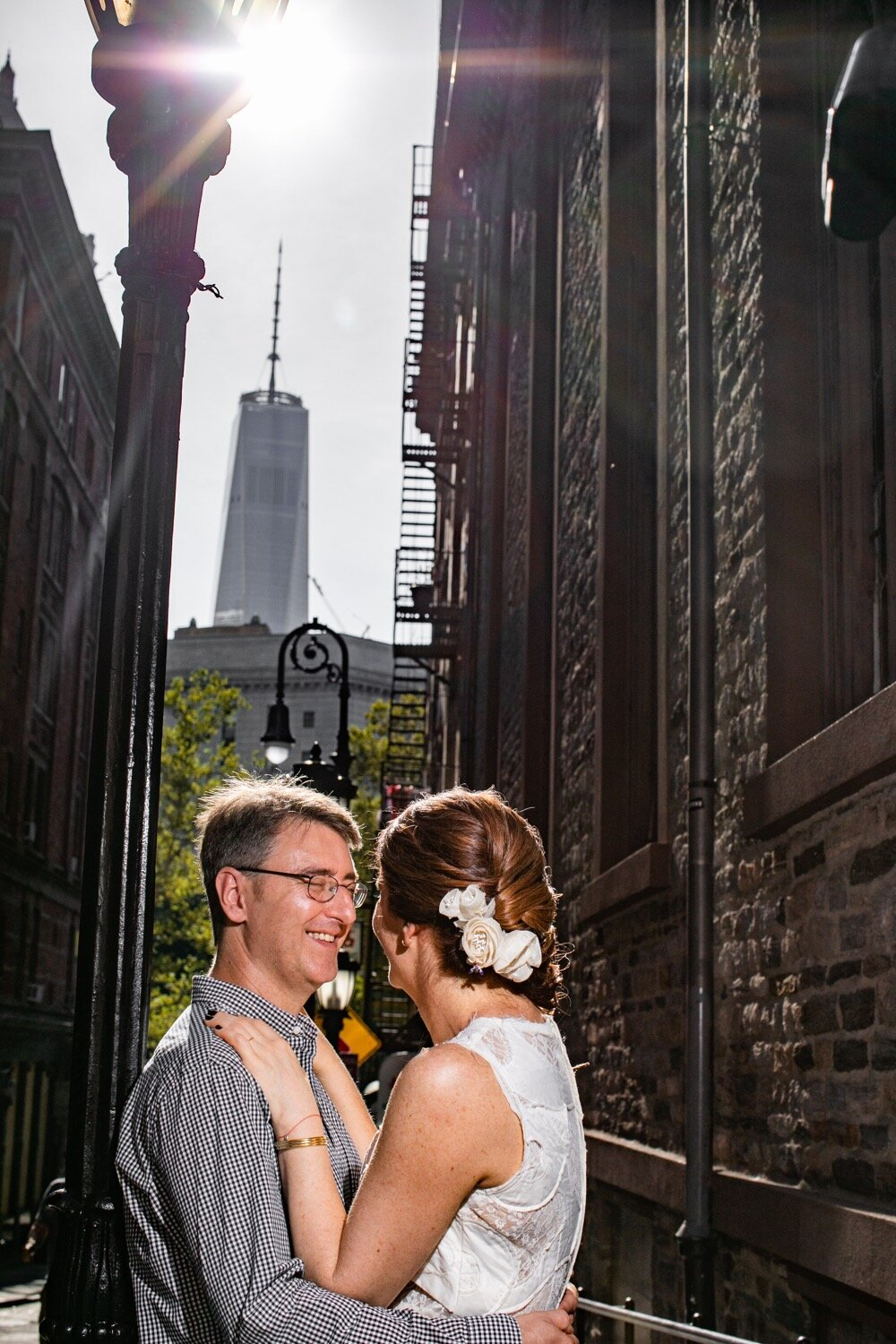 Wedding photos in downtown Manhattan. The World Trade Center can be seen in the background.