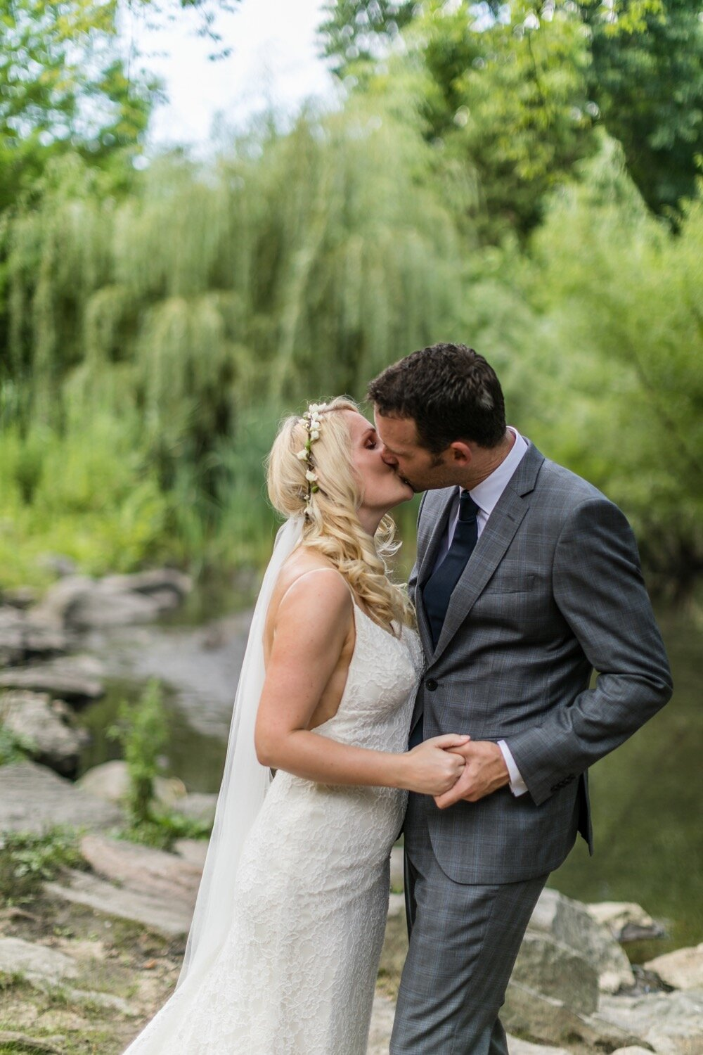 Bride and groom kissing at their Central Park elopement.