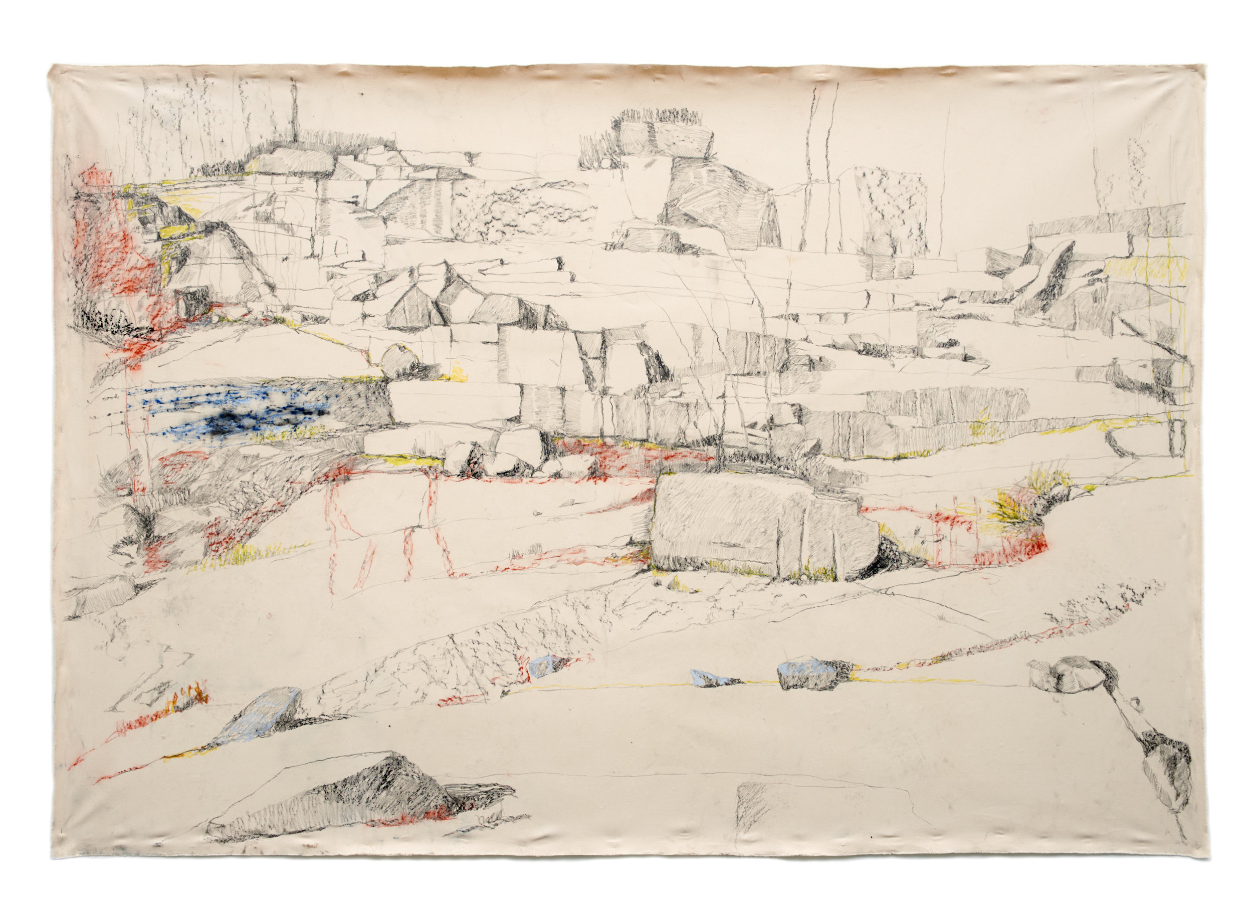 Settlement / graphite, oil pastel, and conté on canvas, 72 x 108 in., 2017