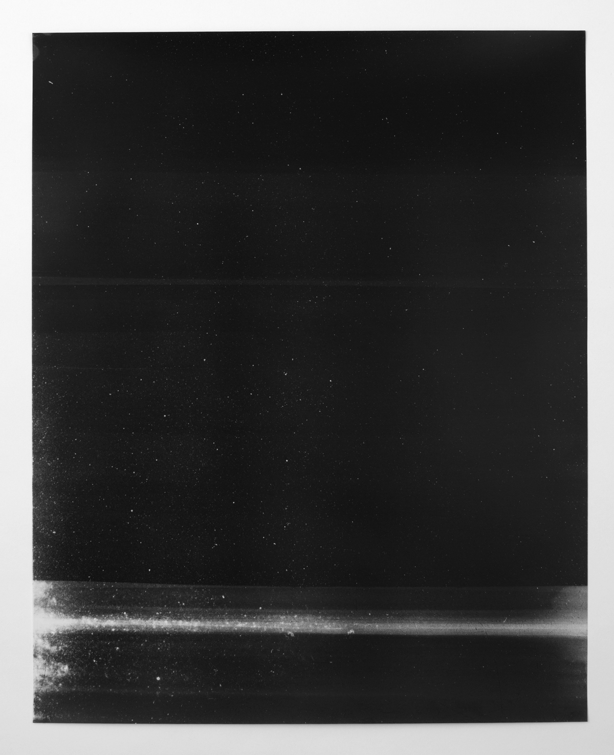 Untitled (black, from the series reflected/repeated - light becomes form, the horizon rests into view)  2015.  Oil based ink painted on frosted mylar.  20 x 25 inches unframed.