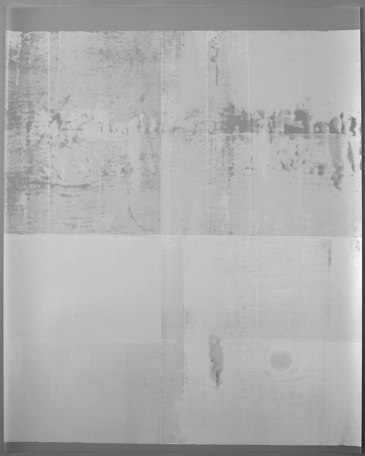Untitled (white, from the series reflected/repeated - light becomes form, the horizon rests into view)  2015. Oil based ink painted on frosted mylar. Photographed here unframed against a grey background. 20 x 25 inches