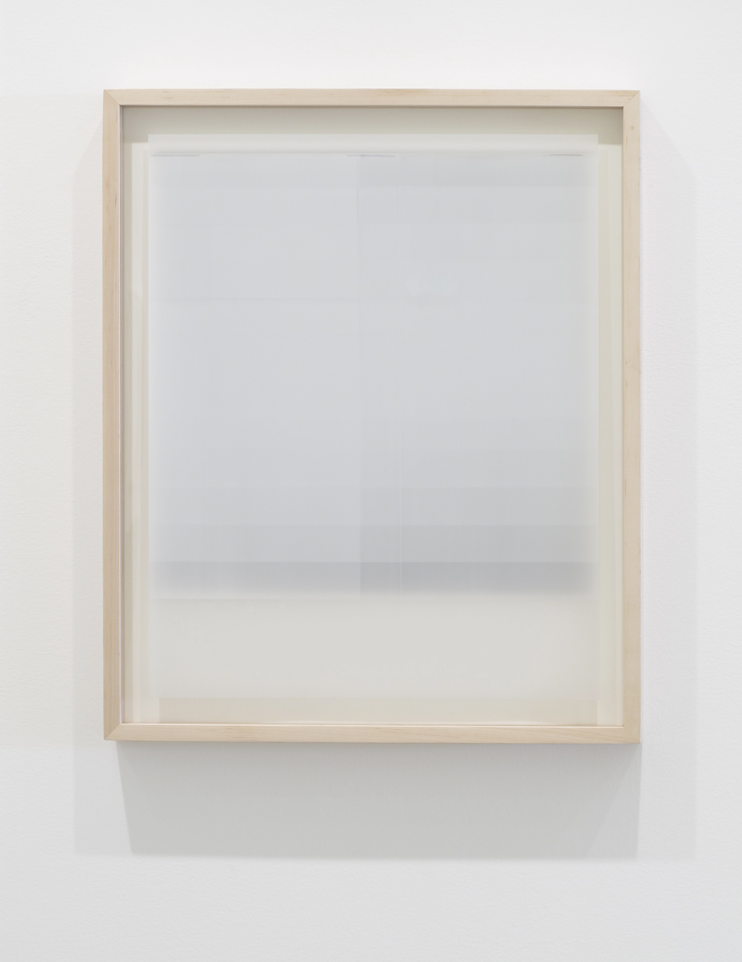 Untitled (white, from the series reflected/repeated - light becomes form, the horizon rests into view)  2015. Oil based ink painted on frosted mylar. Layered on plexi, with grey board dropped slightly behind. 20 x 25 inches (unframed)